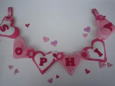 Large Hearts Personalised Pink Name Banner 6 by WillowMoonShop, Pink Names, Name Banners, Crochet Necklace, Unique Jewelry, Handmade Gifts, Diy, Hearts, Kid Craft Gifts, Bricolage
