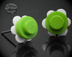 Lime & White Flower Stud Earrings  made with LEGO by Gr0glmann, $6.99