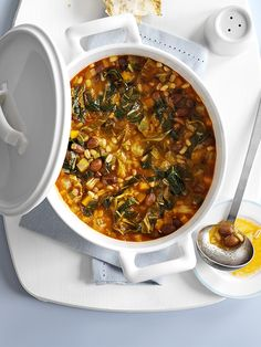This recipe for Tuscan bean and barley stew is a perfect one to have on hand for a quick midweek meal. It's ready in 30 minutes, serves 4 and is under 200 calories. You can use any leafy greens for th Easy Stew Recipes, Clean Dinner Recipes, Bbc Good Food Recipes, Veggie Recipes, Barley Recipes, Veggie Meals, Veggie Food, Vegetable Dishes, Vegetarian Stew