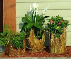 The 3 amigos! Cement Flower Pots, Diy Concrete Planters, Cement Art, Concrete Crafts, My Secret Garden, Travel Design, Garden Projects, House Plants, Garden Design