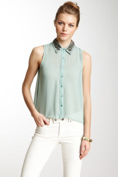 Embellished Collar Button Front Blouse