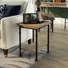 Complement any ensemble with style and functionality with the handsome Oakside End Table by Three Posts. It has a manufactured wood top and open bottom shelf in a northern oak finish that is framed…More Furniture, Traditional Furniture, Simple Living Room Decor, Modern Minimalist Living Room, Table, Etagere Bookcase, End Tables, Furniture Making, End Tables With Storage