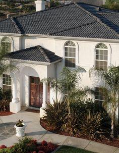 Colorful Exterior Tiles Mold,Colorful Exterior Tiles Mold Eagle Design Corner Dark Gray Concrete Tile Roofs Are Trending, Exterior Tiles, Exterior House Colors, Exterior Paint, Concrete Roof Tiles, Clay Roof Tiles, Wall Tiles, Spanish Tile Roof, Spanish House, Villas