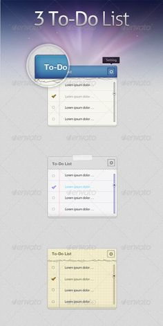To-Do List  #GraphicRiver        To-Do List Features   2 PSD Files (CS+)  Well organized layers  Full Vector shapes  Easy to edit  	 Font used   Helvetica Neue (Linotype )  Myriad Pro (Myfonts )    	       Created: 5April12 GraphicsFilesIncluded: PhotoshopPSD #JPGImage HighResolution: Yes Layered: Yes MinimumAdobeCSVersion: CS3 PixelDimensions: 1180x2200 Tags: clipboard #list #modern #note #notepad #paper #photoshop #pixelperfect #psd #retina #todolist #to-do