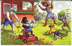 Cartão Postal Alfred Mainzer Original ~ Cães pátio fazendo trabalhar enquanto me divertindo # 4819 in Colecionáveis, Cartões postais, Animais   eBay