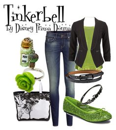 """Tinkerbell Disneybound Outfit"" by disneyprimadonna ❤ liked on Polyvore featuring H&M, BKE and Pop Cutie"