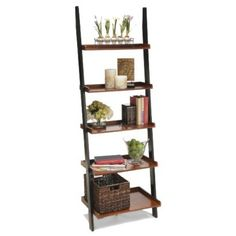 Convenience Concepts 2 Tone Ladder Bookcase - Cherry/black