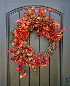 Fall Wreath-Autumn Wreath Orange Berry by AnExtraordinaryGift