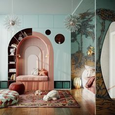 Kids room in mint green and wood. Lovely built-in bookcase curving along the arch of the seating nook. Kids room in mint green and wood. Lovely built-in bookcase curving along the arch of the seating nook. Fairytale Bedroom, Boho Bedroom Decor, Quirky Bedroom, White Bedroom, Boho Decor, Rustic Decor, Farmhouse Decor, Kids Room Design, Kids Bedroom Designs