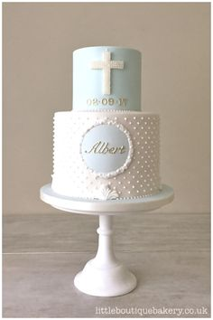 Boy's Baptism Christening Cake. Duck egg and white cake with piped pearls, pea. - - Boy's Baptism Christening Cake. Duck egg and white cake with piped pearls, pea… - Baby Boy Christening Cake, Baby Boy Baptism, Baby Boy Cakes, Cakes For Boys, Cake For Baptism Boy, Boy Baptism Party, Baptism Cross Cake, Baptism Party Favors, Boy Communion Cake