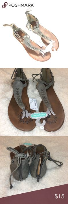 Maurices Gladiator Sandals NWT Maurices Size 12 gray suede gladiator sandals. Zip back for easy on and off. Ankle ties. These run narrow but are so cute! Maurices Shoes Sandals