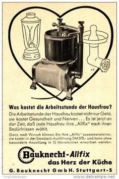 Original-Werbung/Anzeige 1954 - BAUKNECHT ALLFIX KÜCHENGERÄT - ca. 75 x 110 mm