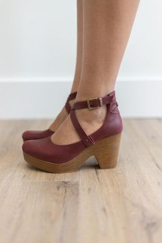 Classic clogs featuring a wooden platform, crisscross ankle straps and distressed details. Rounded toe Padded footbed Lined insole Adjustable straps with buckle Made in Spain Measurements Platform: in Shaft: 4 in Women's Shoes, Shoes 2018, Pump Shoes, Wedge Shoes, Me Too Shoes, Shoes Sneakers, Shoes Style, Shoes Men, Flat Shoes