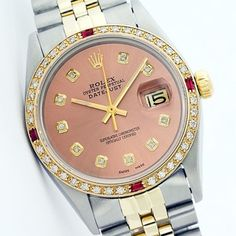 Rolex Datejust Stainless Steel & Yellow Gold Salmon Diamond and Ruby Watch. Get the lowest price on Rolex Datejust Stainless Steel & Yellow Gold Salmon Diamond and Ruby Watch and other fabulous designer clothing and accessories! Shop Tradesy now