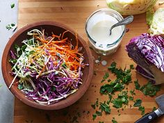 Directions for: Homestyle Kefir Coleslaw Ingredients 8 cups L) thinly sliced cabbage 1 cup mL) shredded carrots cup mL. Coleslaw Recipe Food Network, Food Network Recipes, Food Processor Recipes, Coleslaw Recipes, Napa Cabbage Slaw, Kefir Recipes, Detox Recipes, Potluck Recipes, Potluck Food