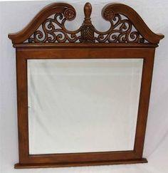 """Wood Frame Dresser Wall Mirror 43x37"""" Decorative Filigree Top Mahogany Finish m4"""