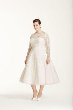 Davids Bridal plus size tea length wedding dress