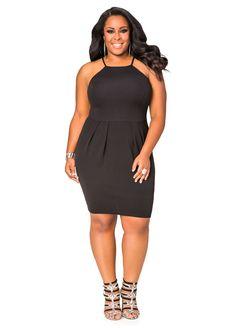 Textured Princess Seam Skater Dress-Plus Size Dress-Ashley Stewart