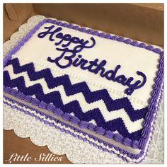 A purple chevron sheet cake