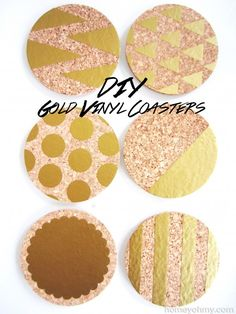 Homey Oh My! DIY Gold Vinyl Coasters | November 18, 2013 | http://www.homeyohmy.com/diy-gold-vinyl-coasters/
