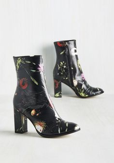 Oh for Heaven's Sleek Boot by Matisse - Black, Floral, Party, Work, Girls Night Out, Statement, Fall, High, Best, Chunky heel, Ankle, Multi,…