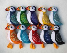 Puffin magnet Bird magnet Colourful felt puffin by PuffinPatchwork Felt Christmas Decorations, Felt Christmas Ornaments, Felt Embroidery, Felt Applique, Bird Ornaments, Handmade Ornaments, Beaded Ornaments, Beaded Crafts, Fabric Art