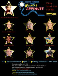 WO+MEN 4 APPLAUSE: Denise Vasquez Presents WO+MEN 4 APPLAUSE Variety Show @Inside Jokes Comedy Club Friday March 13th 8:00 PM