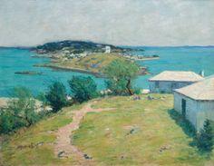 """Looking Towards the Dockyard from Somerset,"" Clark Greenwood Voorhees, oil on canvas, 28 x 36"", Hawthorne Fine Art."