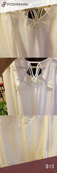 Cute Blouse Flowing Sheer High Low Hem Blouse with back cut out mine Tops Blouses