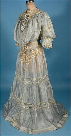 1904 Pale Blue China Silk and Ecru Lace Dressing Gown -- can you imagine lounging about in this, with servants at your beck and call?