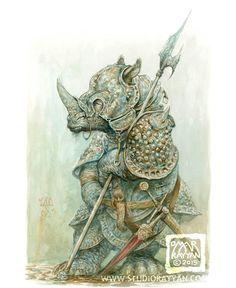 Rusty Rhino print by StudioRayyan on Etsy