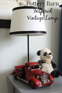 Check out this easy-to-follow tutorial for a Pottery Barn inspired vintage lamp--so adorable, and perfect for a bedroom or playroom!