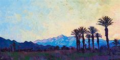 Scenery of Indio Polo Grounds in Coachella Valley with mountains and contrasting palm trees by impressionist artist Erin Hanson