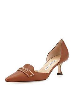 Angedo Kitten-Heel Penny-Strap Pump, Medium Brown by Manolo Blahnik at Bergdorf Goodman. Kitten Heel Shoes, Mid Heel Shoes, Fab Shoes, Shoes Heels Pumps, Pretty Shoes, Beautiful Shoes, Cute Shoes, Me Too Shoes, High Heels
