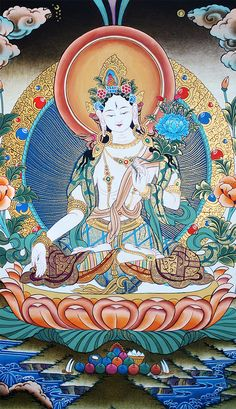 The mother of all Buddhas. Authetic thangka painting of Goddess White Tara.