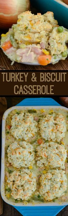 Turkey Biscuit Casserole - save your leftover turkey from Thanksgiving and make this comforting casserole! It is filled with turkey and veggies in a creamy white gravy, then topped with gorgeous gluten free chive and cheese biscuits!
