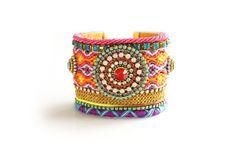 Made To Order / OOAK Luxury Neon Swarovski Friendship Bracelet Jewelry Ultra Wide Cuff,bohemian indian gypsy,Ethnic