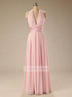 Pink Gorgeous Chiffon Halter A-Line with Floor Length Cheap Bridesmaid Dress Prom Dress Evening Dress