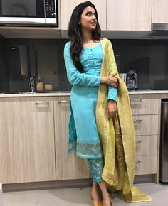 Class is in simplicity Nimrat khaira in our label looking very elegant and classy . You all can order this costume now! Hurry limited editions ✌️️✌️️✌️️ No filter pictures Salwar Designs, Kurti Designs Party Wear, Blouse Designs, Punjabi Fashion, Indian Fashion, Ethnic Fashion, Indian Attire, Indian Wear, Punjabi Dress