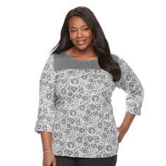 Plus Size Croft & Barrow® Sleeve Lace Tee, Grey