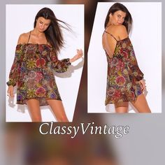 Multi color off shoulder tunic 2/10 arrival. Semi sheer - off shoulders - blousen sleeves - crissy cross strappy back. Runs true to size and made in USA. . Price will be $26.00 Boutique Tops Tunics