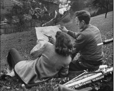 Former GI Ernest Kreiling and his bride overlooking valley where he fought during WWII. April 1947 (Tony Linck) Former GI Ernest Kreiling and his bride overlooking valley where he fought during WWII. Photo Vintage, Vintage Love, Vintage Kiss, Retro Vintage, Old Pictures, Old Photos, Vintage Couple Pictures, Friend Pictures, Couples Vintage