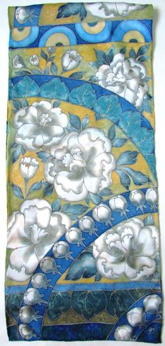 Sciarpa di seta dipinte a mano. Sciarpa in di OlgaGorbunovaArt