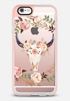 Casetify iPhone 7 Case and Other iPhone Covers - Watercolor Floral Bull Skull - Transparent iPhone 6s Case by Ruby Ridge Studios | #Casetify
