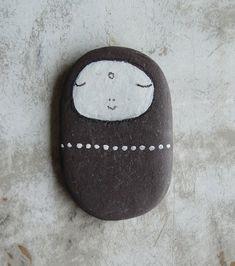 Flat Beach Slate Jizo Bodhisattva by LillaJizo on Etsy, $55.00