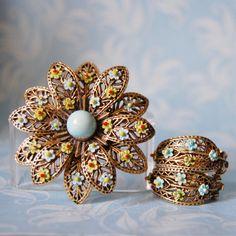 Vintage 1960s ART Flower Brooch and Earrings Set by FeraliaVintage