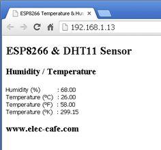 ESP8266 Temperature / Humidity Webserver with a DHT11 sensor | Elec-Cafe.Com