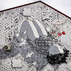 """Insomnia""  Urban art by Millo in Bodø, Norway See more at ◉ http://www.millo.biz"