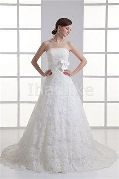 Most Beautiful Strapless A-line Court Train Zipper-back Lace Wedding Dresses 2014
