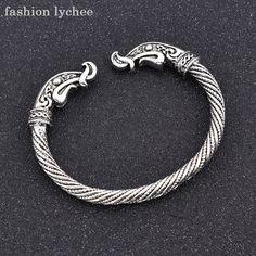 Bracelets & Bangles Humorous Kinitial Punk Viking Double Dragon Heads Bracelet Bangle Retro Antique Silver/bronze Screwed Bangle Mens Fashion Jewelry Bangles